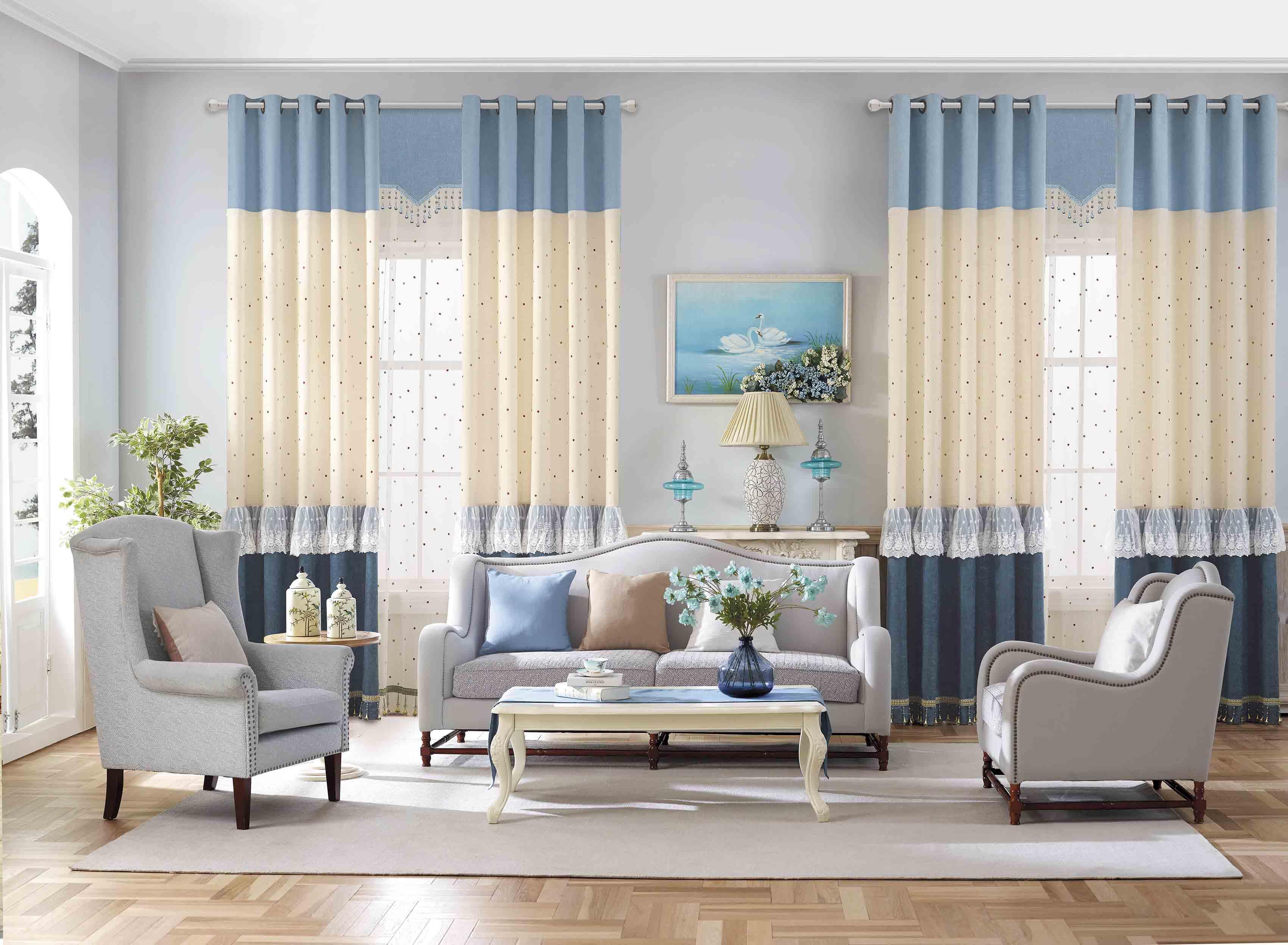 简约现代欧式卧室客厅温馨豪华高档遮阳隔热防晒落地窗帘纱帘